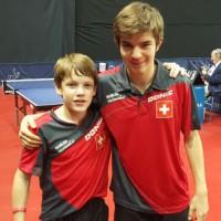 Barish et Dorian en quart de finale double U15 à l'Open de Hongrie en 2015